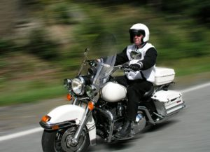 Motorcycle rider in Georgia winter