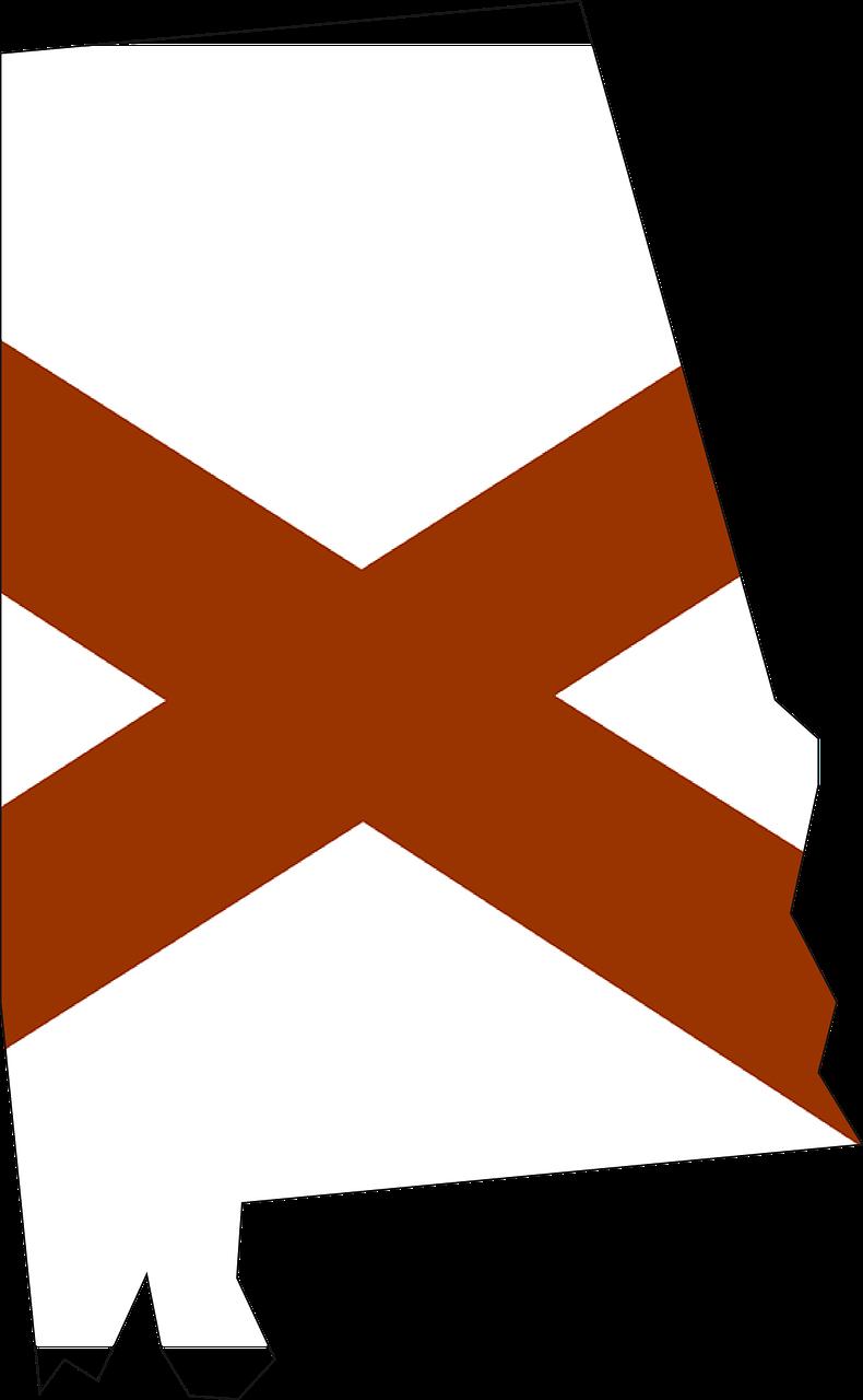 Alabama flag and state outline